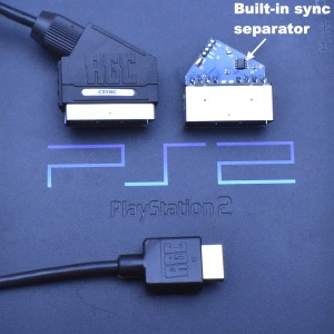 PlayStation 2 PS2 RGB SCART PACKAPUNCH cable + Composite Sync CSYNC